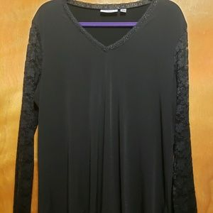 Long Sleeve Black Blouse with Lace Sleeves